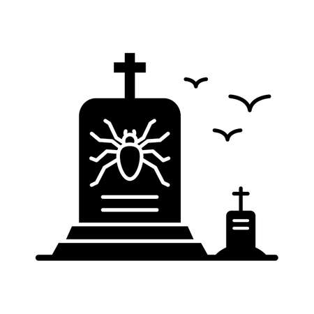 Spooky Gravestone flat vector icon which can easily modify or edit