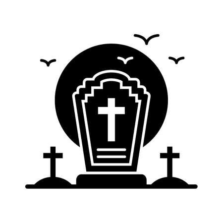 spooky grave flat vector icon which can easily modify or edit