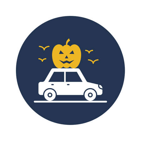 Pumpkin transport flat vector icon which can easily modify or edit