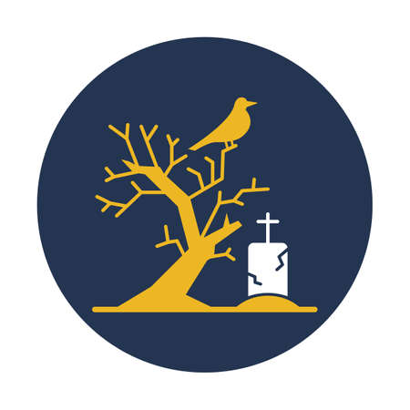 Scary Graveyard Flat  flat vector icon which can easily modify or edit Иллюстрация