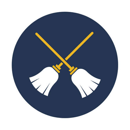Flying broom flat vector icon which can easily modify or edit