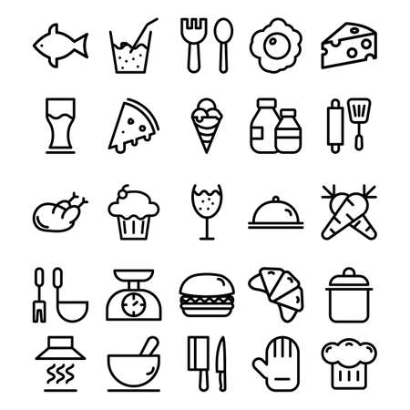 Food and Beverages line vector icon which can easily modify or edit Çizim