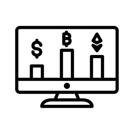 Online cryptocurrency market Vector Icon