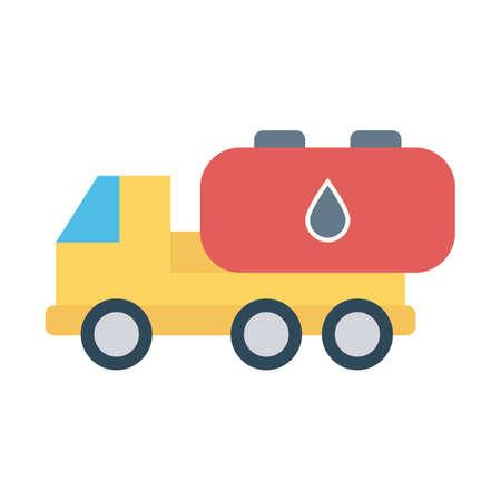 Oil tanker, oil, tank, truck fully editable vector icon