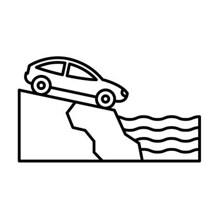 Car in falling line vector icon which can easily modify or edit