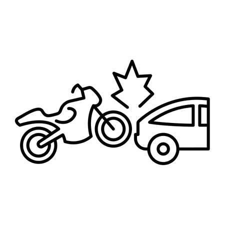 Bike collision with car line vector icon which can easily modify or edit
