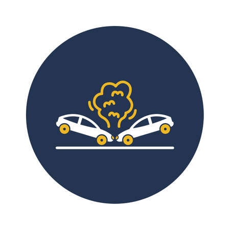 Collide car back white glyph with color background vector icon which can easily modify or edit Ilustração