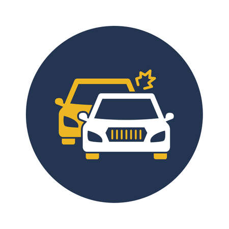 Two car collision white glyph with color background vector icon which can easily modify or edit