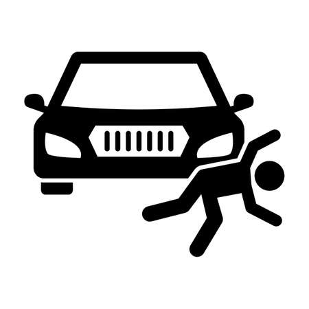 Man collide with car Glyph Style vector icon which can easily modify or edit