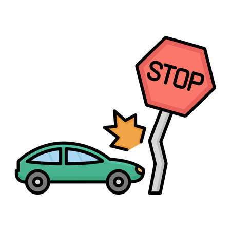 Stop sign with car accident Isolated Vector icon that can be easily modified or edited