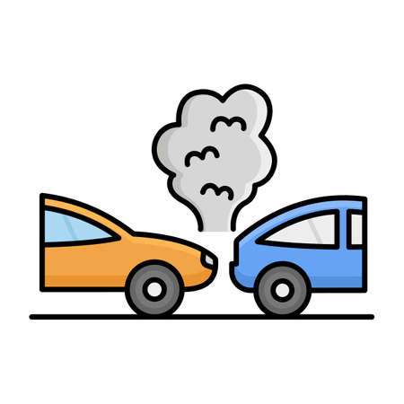 Collide car back Isolated Vector icon that can be easily modified or edited