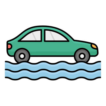 Car in flood Isolated Vector icon that can be easily modified or edited