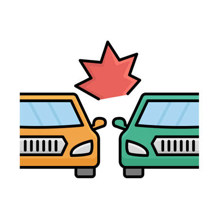 Two cars collide Isolated Vector icon that can be easily modified or edited