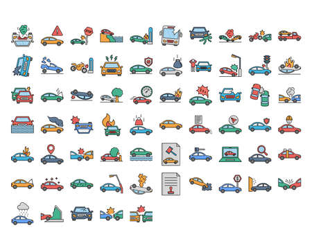 Car Accident Isolated set that consist with car insurance, flaming, collide, traffic, wreck, auction and  damage engine of car, every icon can be easily modify or edit Ilustração