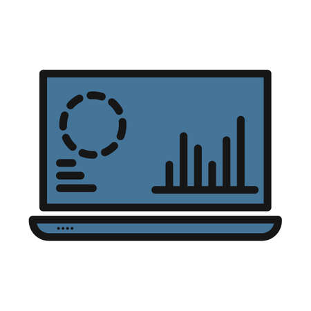 Online Graphs line isolated vector icon can be easily modified and edit