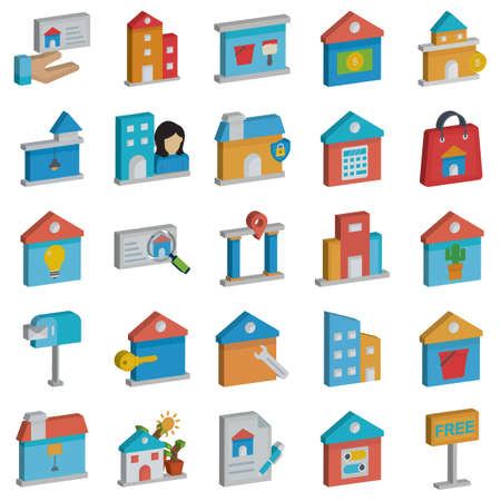 Real Estate and building Isolated Vector icon