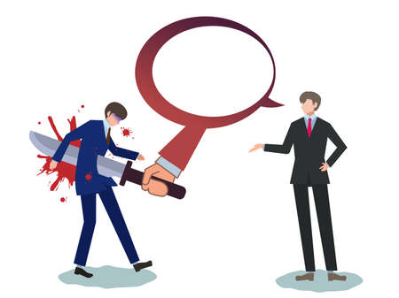 Person, businessman, verbal violence, pointing out, star, stabbing, knife