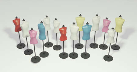 A lot of colorful torso mannequins are standing bird's-eye view 3dcg