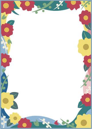 Red flower and yellow flower frame vector illustration Vetores