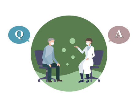 Elderly man to be examined by female doctor Question and answer Mask wearing person flat illustration vector