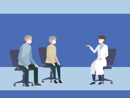 Elderly couple who are examined by a female doctor in a hospital Person flat illustration vector