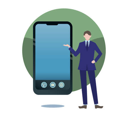 Smartphone frame person flat illustration guided by businessman