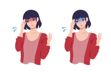 Woman with fever, pale young woman set Person vector illustration