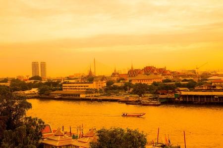 black giant mountain: Chao Phraya River Thailand