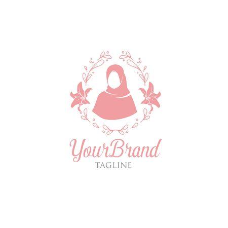 Hijab con plantilla de logotipo floral