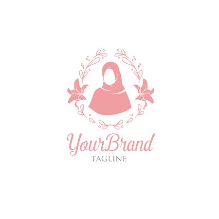 Hijab with floral logo template
