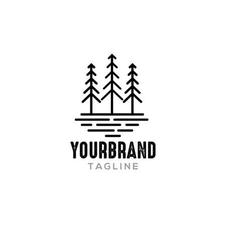 Line Pine tree Logo design inspiration Ilustração