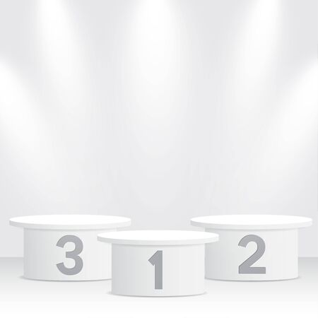 White winners podium with spotlights. Pedestal. Vector illustration. Illustration
