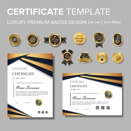 Professional luxury certificate with badge Stock Vector - 127965046