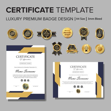 Professional Certificate design with badge Illustration