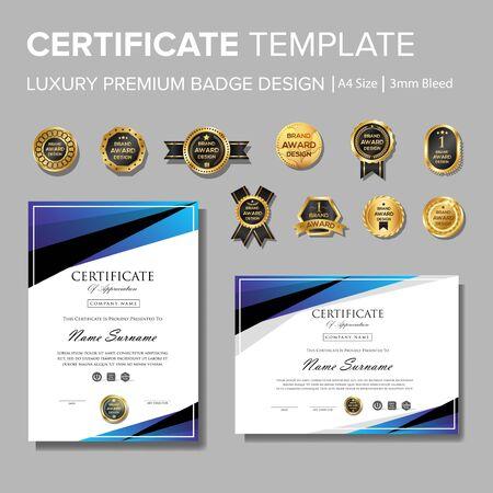 blaues Zertifikatsdesign mit Abzeichen