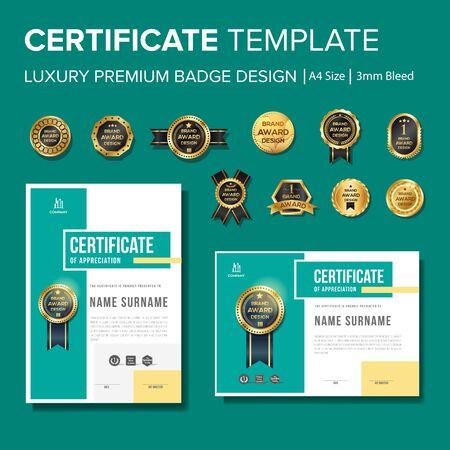 Professional Certificate template with premium badge multipurpose a4 Stock Vector - 128050124