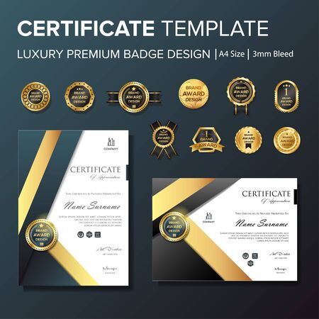 Professional Certificate template with premium badge multipurpose a4 Stock Vector - 128050126
