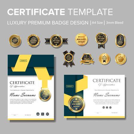 Modernes und professionelles Zertifikat mit Mehrzweckabzeichen Vektorgrafik