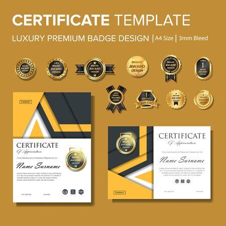 Certificato moderno e professionale con badge multiuso Vettoriali