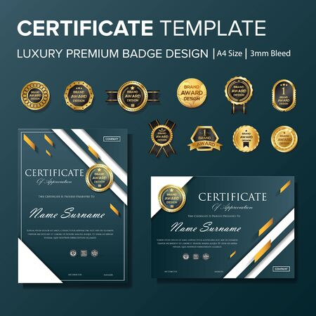 Professional Certificate design with badge multipurpose Stock Vector - 128050087