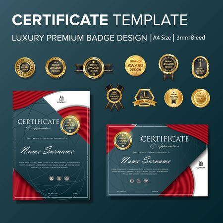 Professional Certificate design with badge multipurpose