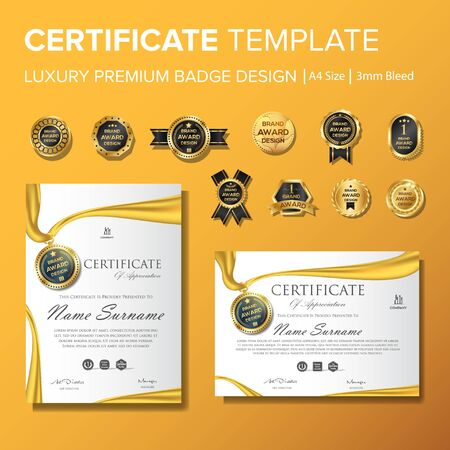 Modern yellow certificate with badge multipurpose a4 paper