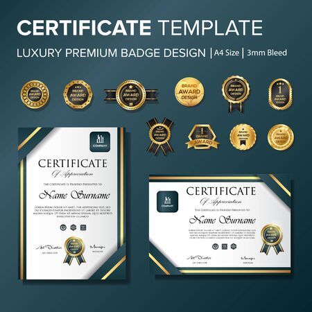 Professional certificate with badge multipurpose a4