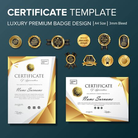 Professional Certificate template with premium badge multipurpose a4