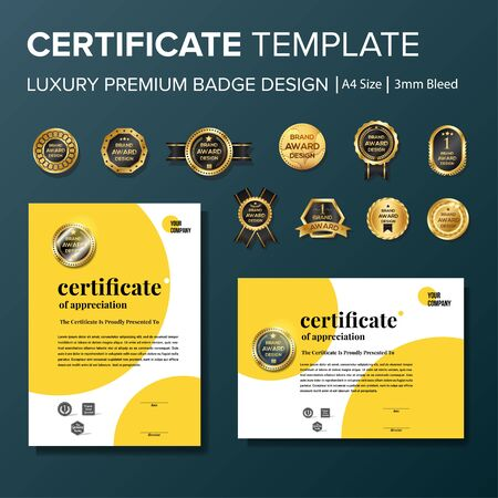 Professional Certificate template with premium badge multipurpose a4 Stock Vector - 128050091