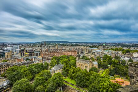 Long exposure of the clouds over Edinburgh as seen from Edinburgh Castle