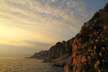 nightfall: Palace Maeterlinck on Cap Nice, France, seen from the Littoral Path at sunset Stock Photo