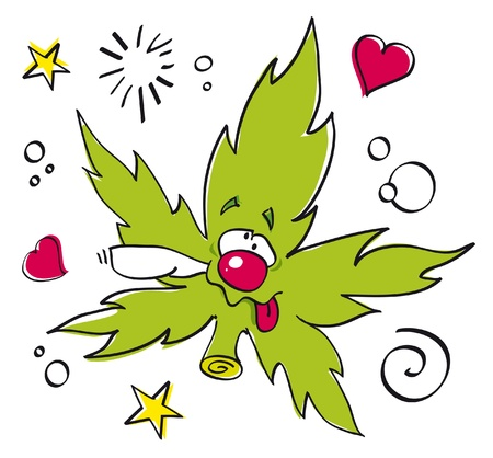 funny laughing marijuana leaf Stock Photo