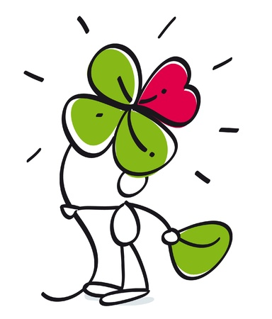 funny lucky guy with four leaf trefoil