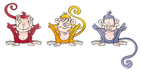 funny wise monkeys Illustration